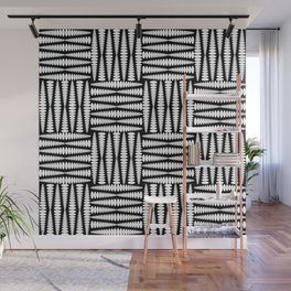 Strict carved squares of elongated curly rhombs in monochrome. Wall Mural