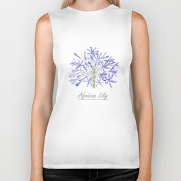 blue purple African lily watercolor painting Biker Tank