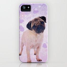 Cute Pug and heats Digital Art iPhone Case
