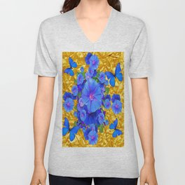 BLUE BUTTERFLIES & M0RNING GLORIES ON GOLD LEAF Unisex V-Neck