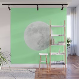 WHITE MOON + LIME SKY Wall Mural