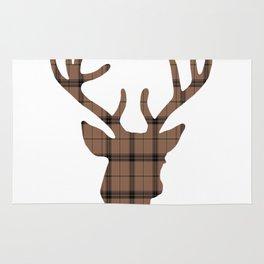 Plaid Deer Head: Dark Brown Rug