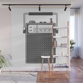 Retro portable radio. Monochrome vintage style illustration Wall Mural