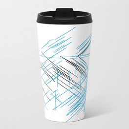 Lines, Blue and black Stripes Travel Mug