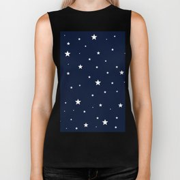 Scattered Stars White on Midnight Blue Biker Tank