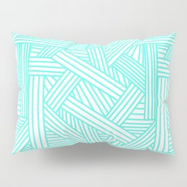 Sketchy Abstract (Turquoise & White Pattern) Pillow Sham