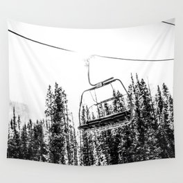 Empty Skilift // Black and White Snowboarding Dreaming of Winter Wall Tapestry
