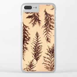 Botanical Pattern 1 (brown) Clear iPhone Case