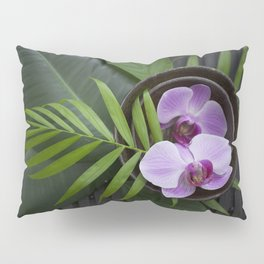 Zen Style Pink Orchids And Palm Leaf Pillow Sham