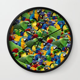 Parrots collage birds photo print parrots pattern green blue red yellow Wall Clock