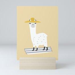 Llama goes to the Beach Mini Art Print
