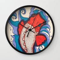 koi fish Wall Clocks featuring Koi Fish by Hannah Brownfield Camacho
