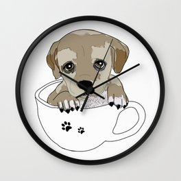 Puppies love coffee too! Wall Clock
