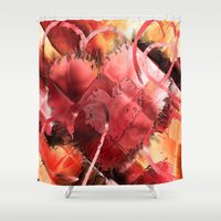 kandinsky Shower Curtains featuring Game of Hearts by Mark Compton by Mark Compton