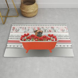 Boxer dog in red Bathtub with Tulips #society6 Rug