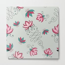 Baby green Lotus Flower pattern  Metal Print
