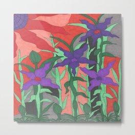 Twilight Sun Garden Floral Art Metal Print