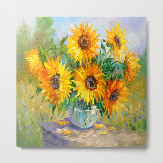 Bouquet of sunflowers on the table Metal Print