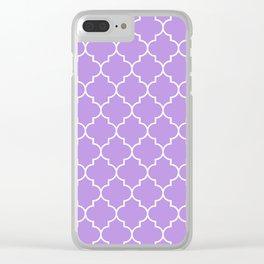 Moroccan Trellis, Latticework - Purple White Clear iPhone Case