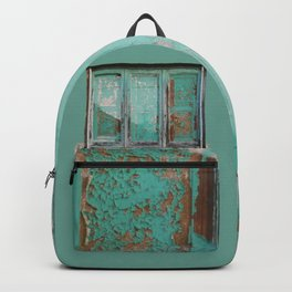 Window with turquoise blinds Backpack