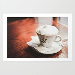 cappuccino on the table Art Print