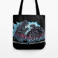 kaiju Tote Bags featuring Kaiju Collide by Austin James