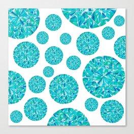 Turquoise Round Gem Pattern Canvas Print