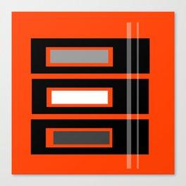 Retro Abstract Tiki Print on Orange Canvas Print