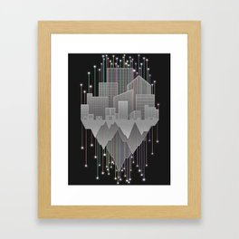 Mountains And Stars Under The City Framed Art Print