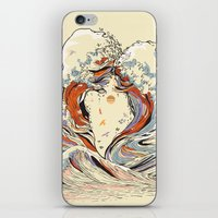 waves iPhone & iPod Skins featuring The Wave of Love by Huebucket