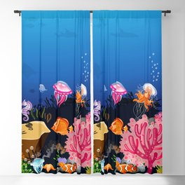 Beautiful Coral Reef Animals Blackout Curtain