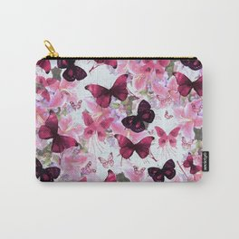Rose pink lavender floral collage whimsical butterfly Carry-All Pouch