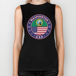 Washington, USA States, Washington t-shirt, Washington sticker, circle Biker Tank