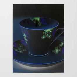 Midnight Blue Teacup | Still Life of Vintage Teacup Poster