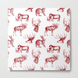 Woodland Critters in Red and White Metal Print