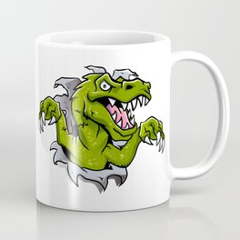 cartoon dinosaur ripping through a wall Coffee Mug