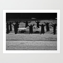 This Cult is Not a Cult! humorous black and white photograph Art Print