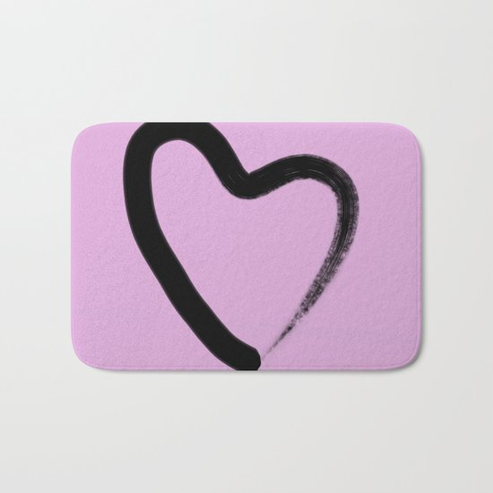 Simple Love - Minimalistic simple black love heart brush stroke on a pink background Bath Mat