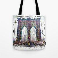 brooklyn bridge Tote Bags featuring brooklyn bridge by Vector Art