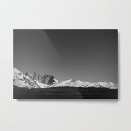 Torres del Paine Black and White Metal Print