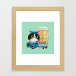 A cat in a beer truck Framed Art Print
