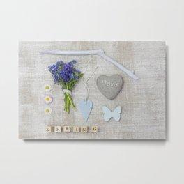 Blue Spring Collage Metal Print