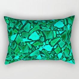 Deep Emerald and Neo Mint Terrazzo Rectangular Pillow