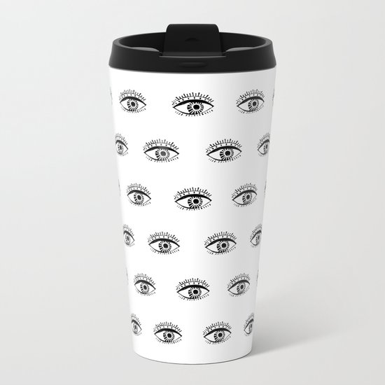 Linocut eyes pattern minimal black and white eye patterns Metal Travel Mug