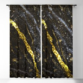 Gold sparkly line on black rock Blackout Curtain