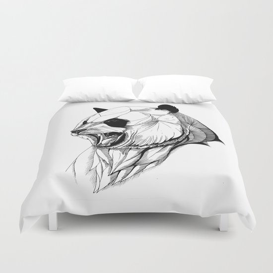 Angry panda (black stroke version for t-shirts) Duvet Cover