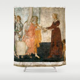 """Sandro Botticelli """"Venus and the Three Graces Presenting Gifts to a Young Woman"""" Shower Curtain"""