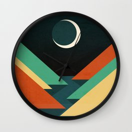 Quiet stream under crescent moon Wall Clock