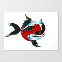 Black and blue Koi Canvas Print
