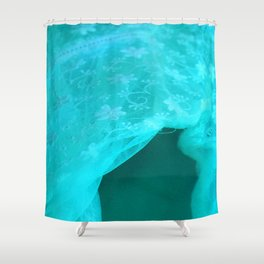 ghost in the swimming pool: aquagreen variations Shower Curtain